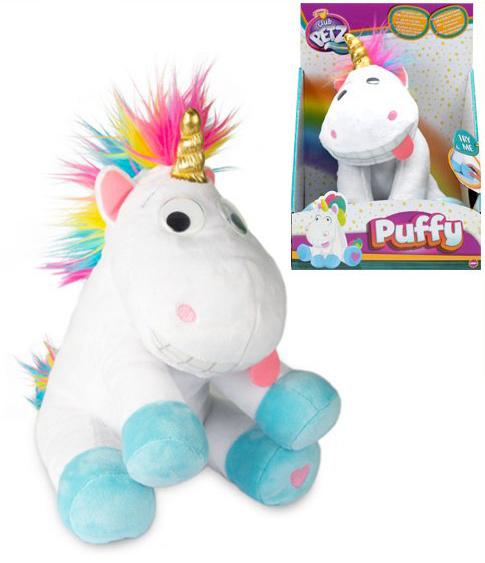 PLYŠ Baby jednorožec Puffy veselý koník směje se a pohybuje na baterie Zvuk