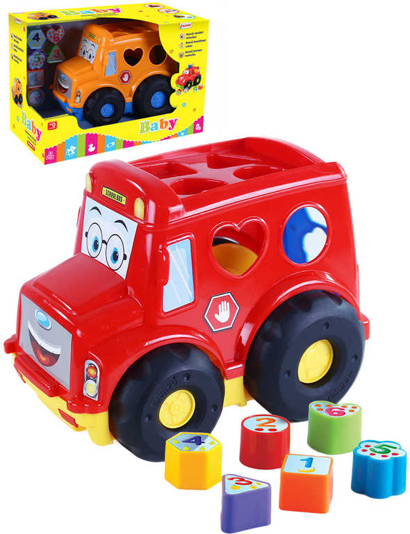 Baby autobus vkládačka se 6 tvary počítání plast 2 barvy pro miminko