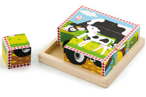 Dřevěné kostky 9 ks- domací zvířata