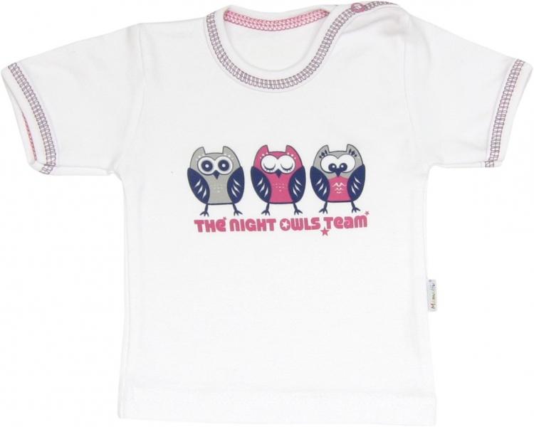 Bavlněné tričko Sovy - krátký rukáv, roz. - 98 - 98 (24-36m)