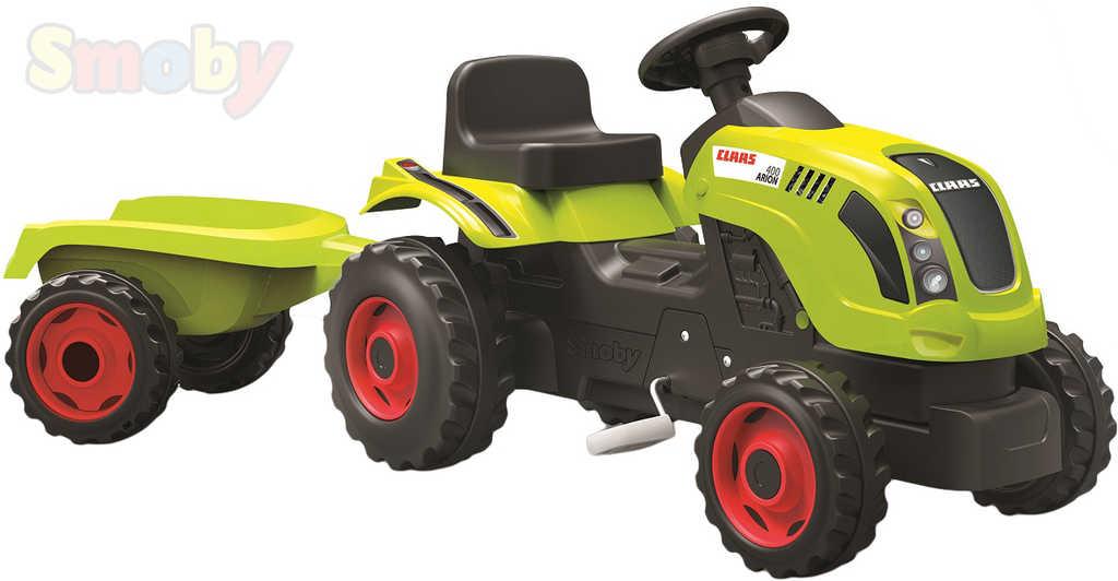 SMOBY Traktor dětský šlapací CLAAS zelený s vlečkou a klaksonem plast