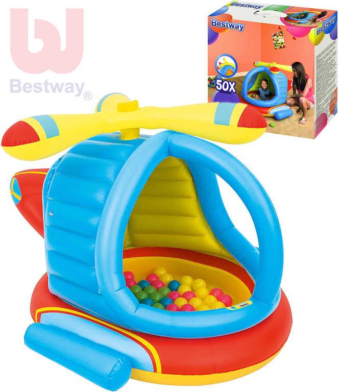 BESTWAY Baby helikoptéra nafukovací hrací koš set s míčky 50ks plast