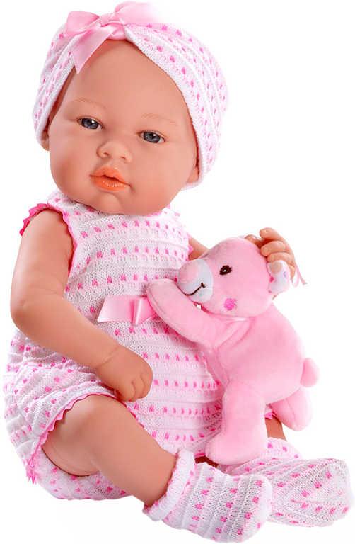 Panenka 42 cm miminko set s medvídkem růžové šatičky