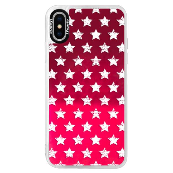 Neonové pouzdro Pink iSaprio - Stars Pattern - white - iPhone XS