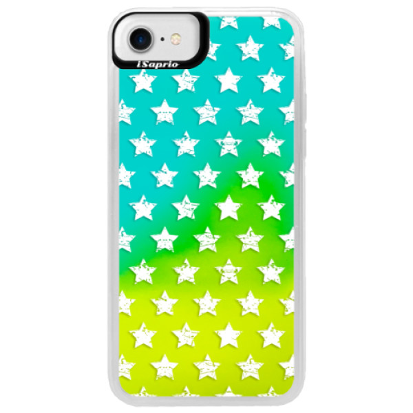 Neonové pouzdro Blue iSaprio - Stars Pattern - white - iPhone 7