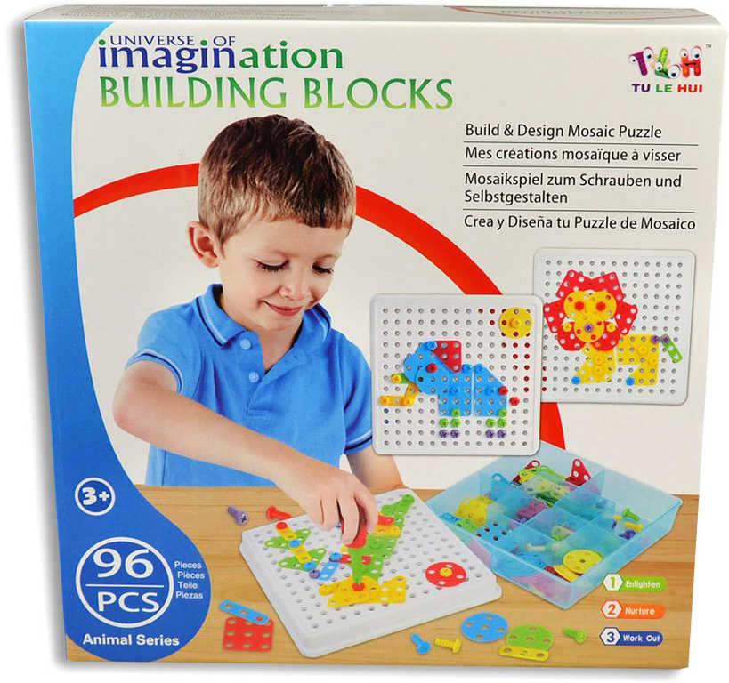 Mozaika zvířátka dětské puzzle plastové bloky v krabici
