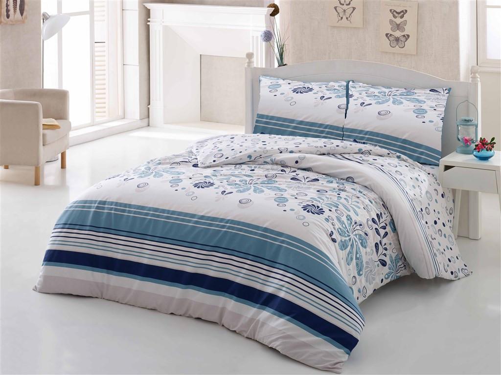 Povlečení francouzské bavlna 220x220,70x90 Pamela modrá, Výběr zapínání: