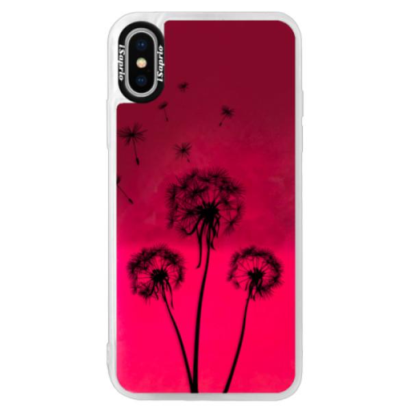 Neonové pouzdro Pink iSaprio - Three Dandelions - black - iPhone XS