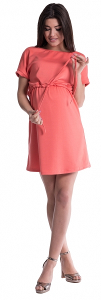 Be MaaMaa Těhotenské šaty s vázáním - korál, vel. M - M (38)