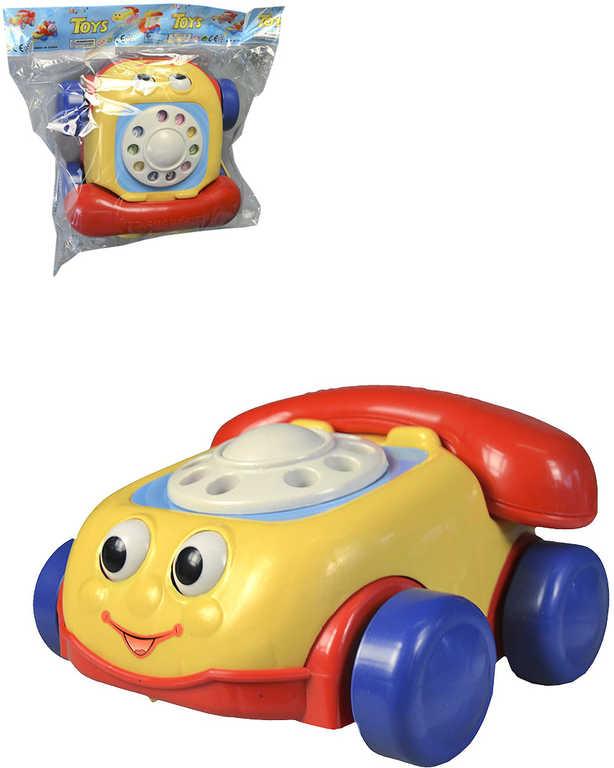 Baby telefon tahací se zvuky na kolečkách se šňůrkou pro miminko