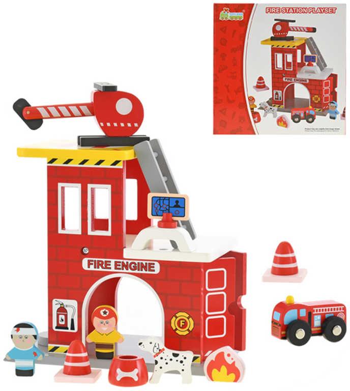 DŘEVO Hasičská stanice herní set s figurkami a vrtulníkem *DŘEVĚNÉ HRAČKY*