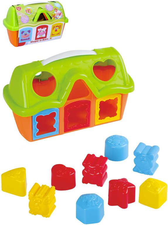 Baby vkládačka domek plastový barevný 26cm set s vkládacími tvary 10ks