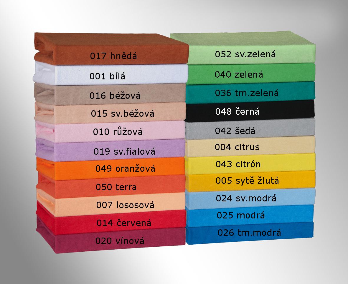Prodloužené froté prostěradlo 100x220cm, Barva