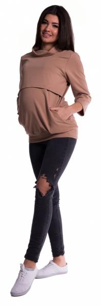 Těhotenské a kojící teplákové triko - béžové