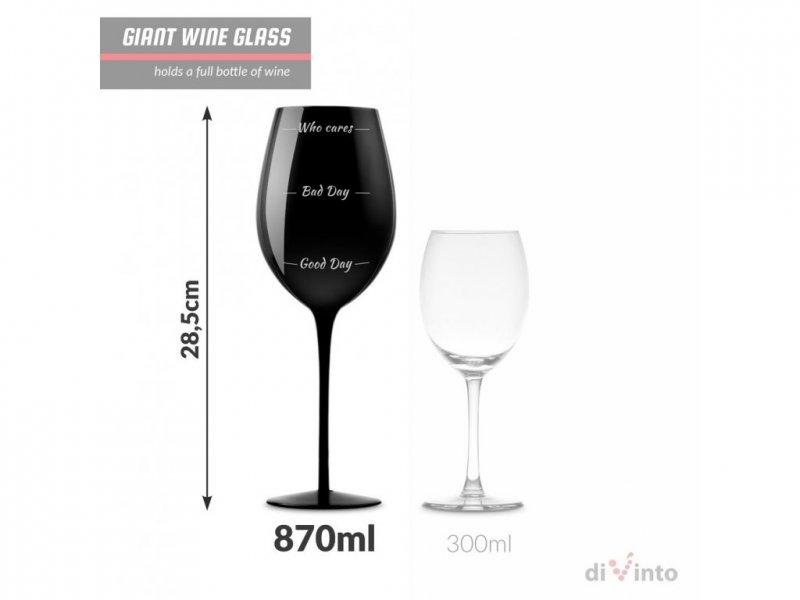 Slavnostní obří sklenice na víno - Who cares? - Černá