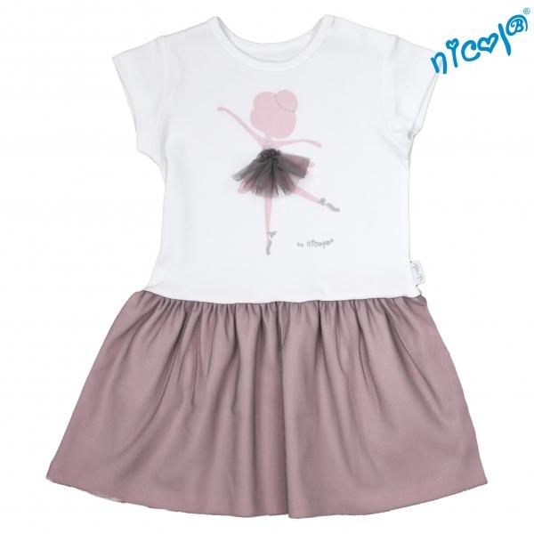 Dětské šaty Nicol, Baletka - šedá/vínová, vel.