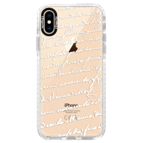 Silikonové pouzdro Bumper iSaprio - Handwriting 01 - white - iPhone XS