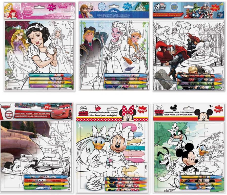 HRA Puzzle Disney kreativní set s voskovkami 4ks k vybarvení v sáčku 7 druhů