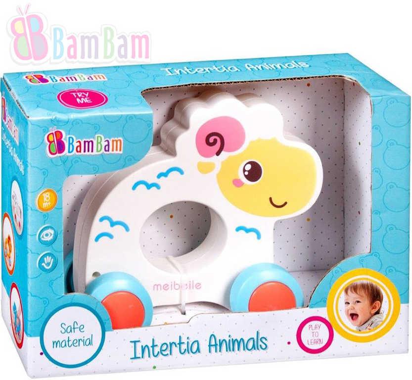 ET BAM BAM Baby Ovečka zvířátko na setrvačník na kolečkách pro miminko