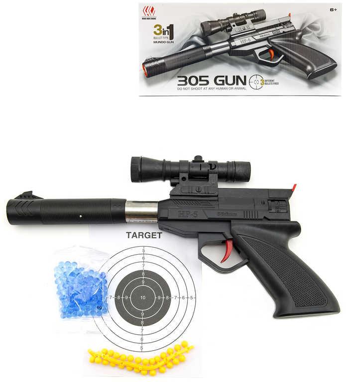 Pistole dětská 30cm na vodní + plastové kuličky 6mm set s terčem a náboji 3v1