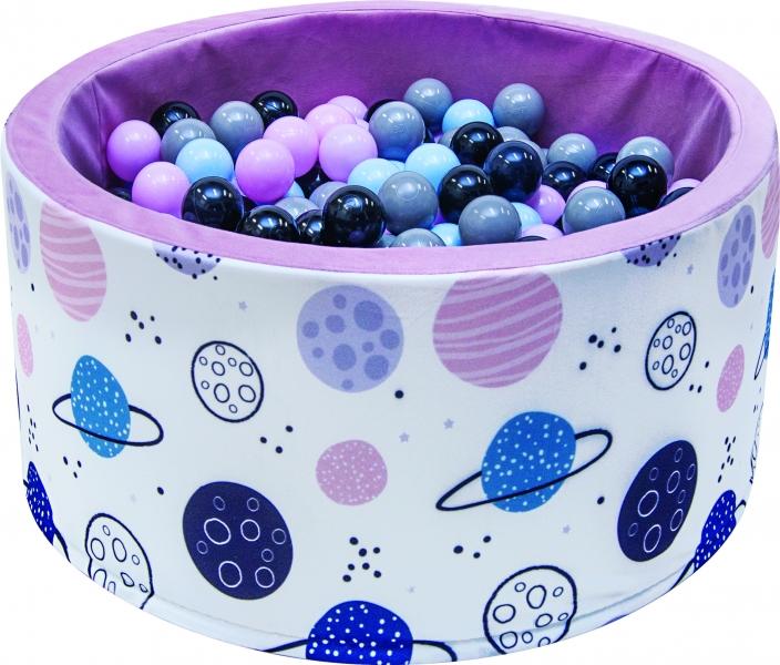Bazén pro děti 90x40cm - planety, růžový s balónky