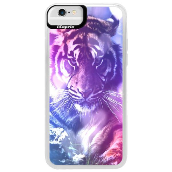 Neonové pouzdro Blue iSaprio - Purple Tiger - iPhone 6/6S