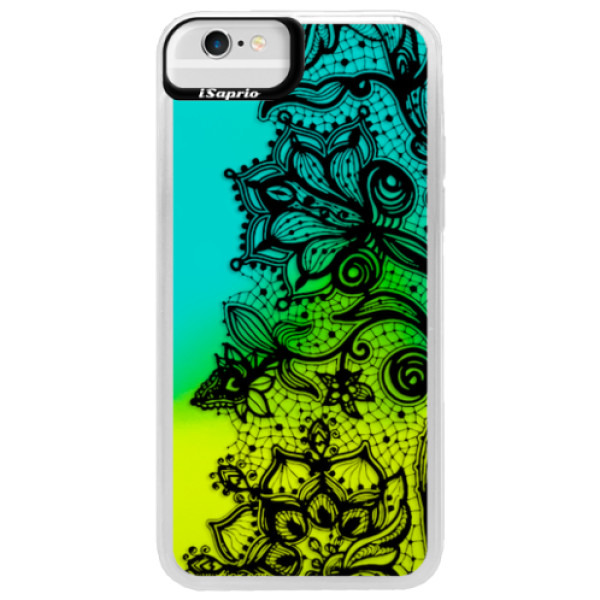 Neonové pouzdro Blue iSaprio - Black Lace - iPhone 6/6S