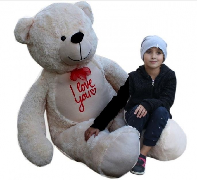 baby-nellys-plysovy-medved-180cm-bezovy-i-love-you