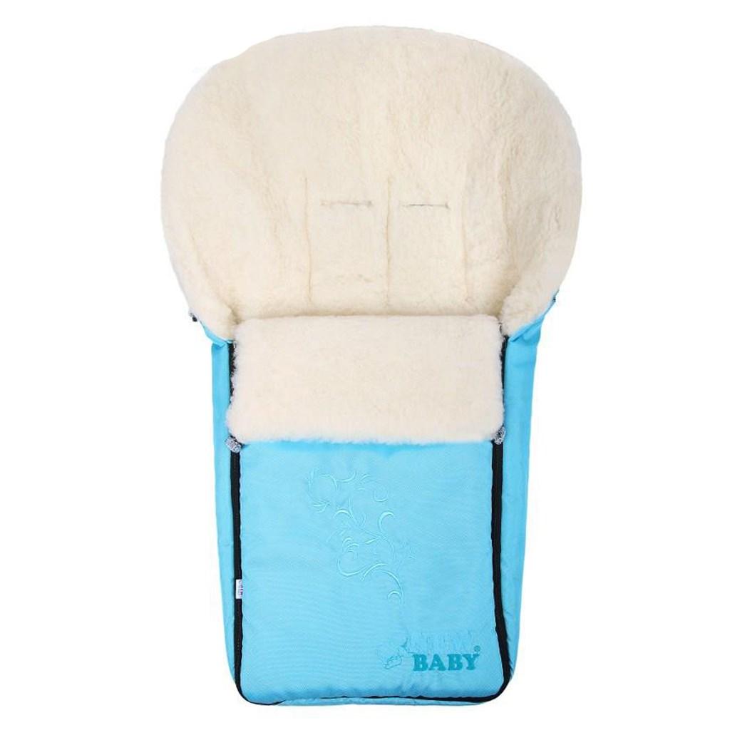 Luxusní fusák s ovčím rounem New Baby - tyrkysový - modrá