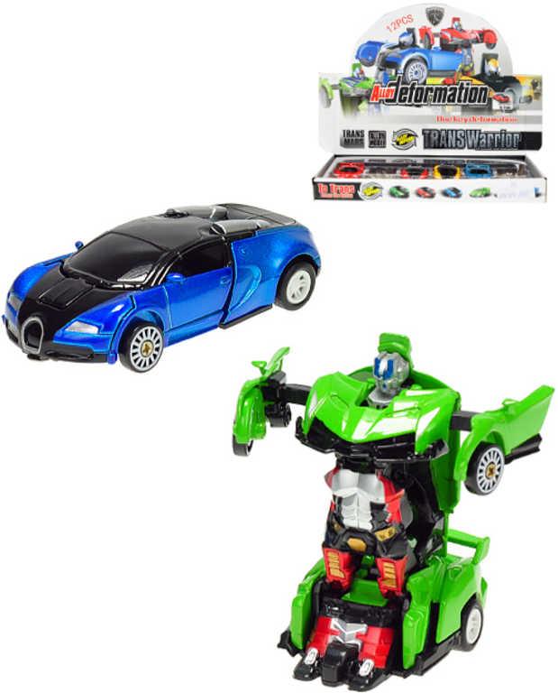 Auto robot 8cm kov zpětný chod 2v1 transrobot 2 druhy 3 barvy plast