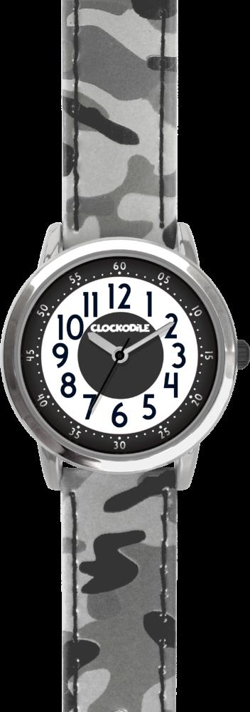 Svítící šedé chlapecké dětské hodinky CLOCKODILE ARMY s maskáčovým vzorem