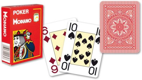 Modiano 4 rohy 100% plastové karty - Červené