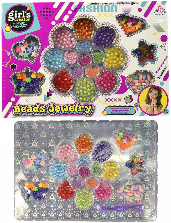Kreativní set korálky navlékací 2 cm s provázky v krabici