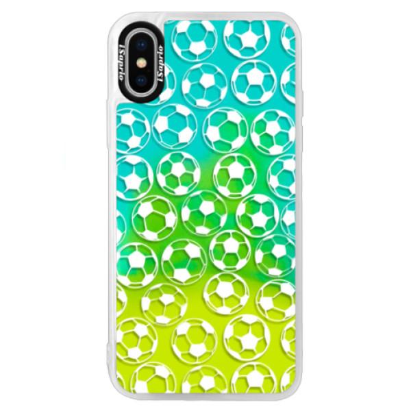 Neonové pouzdro Blue iSaprio - Football pattern - white - iPhone XS