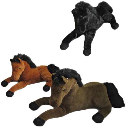 PLYŠ Koník se zvukem 50 cm černá hříva - 3 barvy