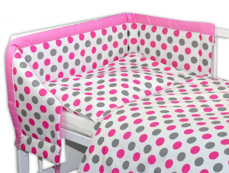 Mantinel s povlečením Baby Nellys ® Puntíky Baby - růžový - 135x100