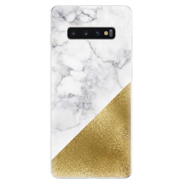 Odolné silikonové pouzdro iSaprio - Gold and WH Marble - Samsung Galaxy S10+