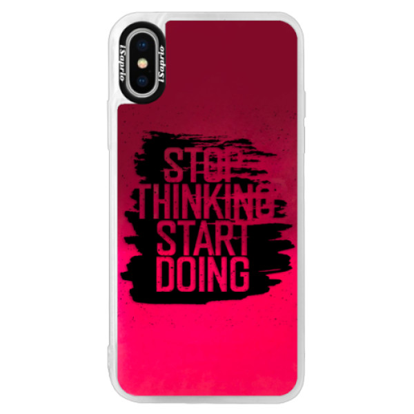 Neonové pouzdro Pink iSaprio - Start Doing - black - iPhone X