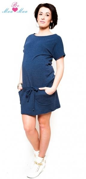 Těhotenské šaty Be MaaMaa - ESTELLE - jeans - S/M