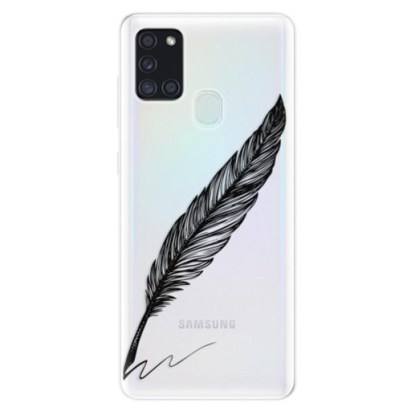 Odolné silikonové pouzdro iSaprio - Writing By Feather - black - Samsung Galaxy A21s