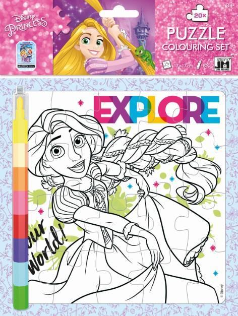 JIRI MODELS Omalovánkové puzzle set s voskovkami Disney Princezny
