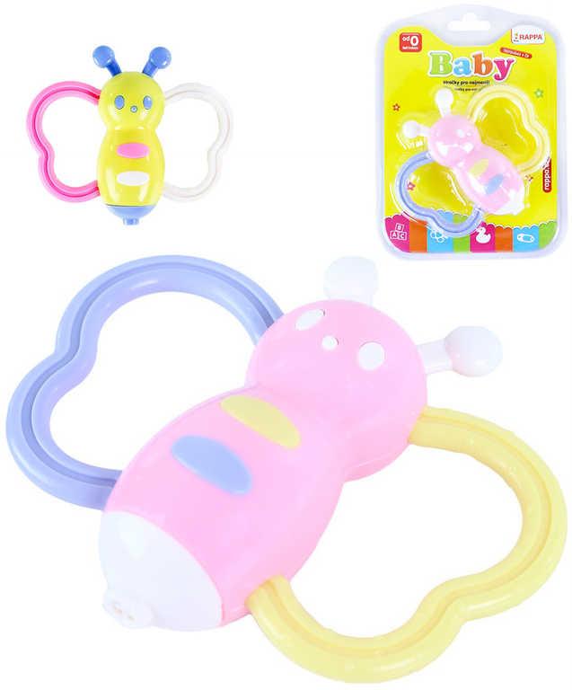 Baby chrastítko včelka pastelové různé barvy pro miminko plast