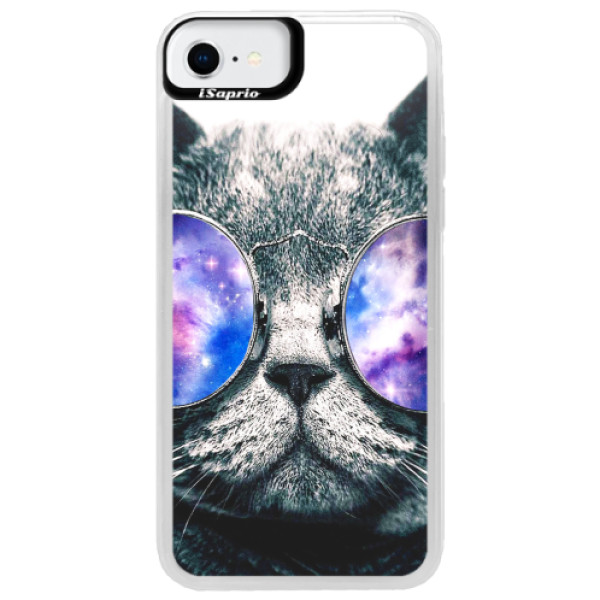 Neonové pouzdro Blue iSaprio - Galaxy Cat - iPhone SE 2020