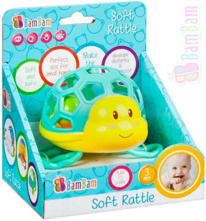 ET BAM BAM Baby chrastítko želva s kuličkou v krabici pro miminko