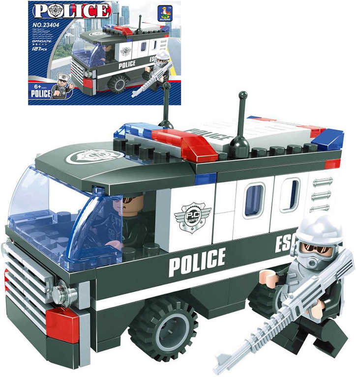 AUSINI Stavebnice POLICEJNÍ Auto zásahové 127 dílků + 2 figurky plast