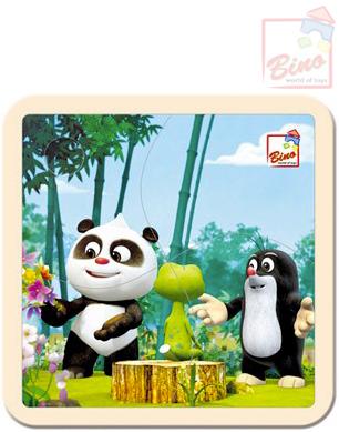 BINO DŘEVO Puzzle (Krteček) Krtek a Panda v lese 4 dílky