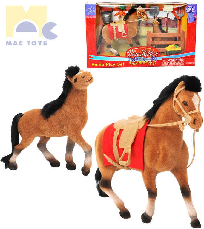 MAC TOYS Kůň 19cm s hříbětem 13cm set s příslušenstvím v krabici fliska