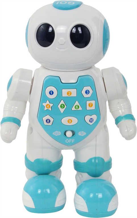 Robot výukový AJ 21cm mluví tančí chodí na baterie LED Světlo Zvuk