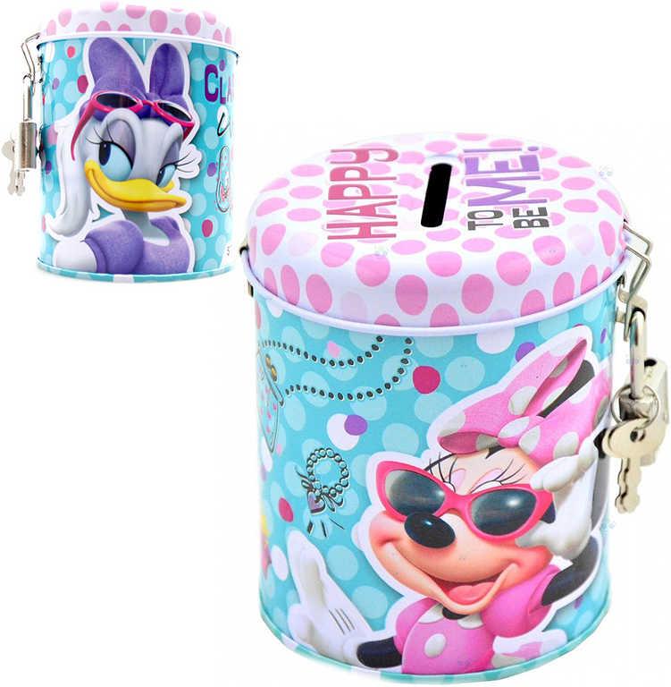 Pokladnička Disney Minnie dětská kasička kulatá set se zámkem a 2 klíčky kov