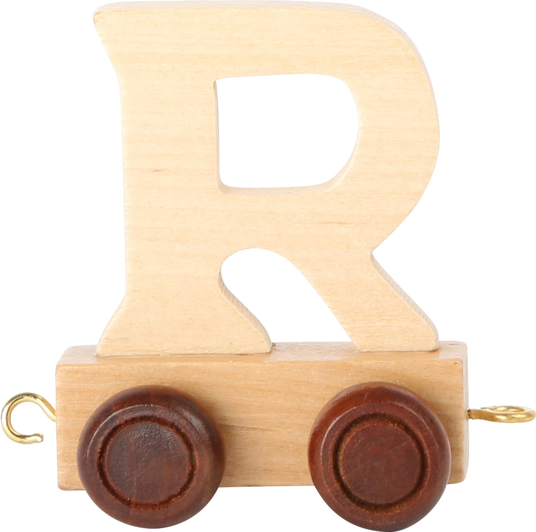 Dřevěný vláček vláčkodráhy abeceda písmeno R